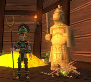 "Captain Roberto BellamyIn His Tribal Garb with his Pet The Bone Drake ""Old Fang"""