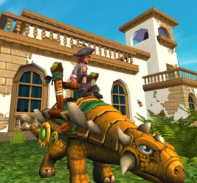 Captain Laura Yellowfish and her new Citrine Anklyosaur Mount